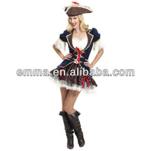 New Ladies Adult Captain Pirate Costume Caribbean Party Outfit Fancy Dress Hat BW711