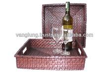 Square cheap rattan beverage tray/ wicker tray in Vietnam