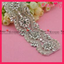 fashion flower crystal and beads rhinestone bridal trim wholesale WRA-375