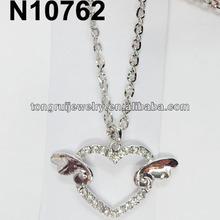 glitter double angel wings heart necklace
