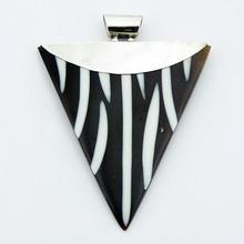 Large Black Shell Pendant White Resin Zebra Pattern 925 Silver