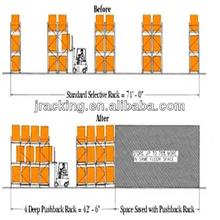 China Nanjing Jracking Light Duty Steel 3 Or 4 Pallet Deep Push Back Racking System