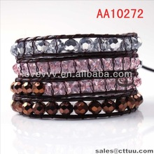 high quality faceted three clors crystal glass beaded leather bracelet