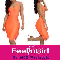 Wholesale Orange Elegant Backless Fashion Latest Design Party Dress