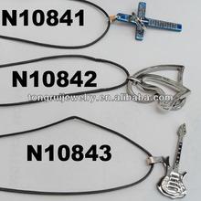 sideways cross pendant leather necklace for men