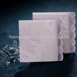 Wholesale nice lace cut favorable price bride&groom wedding invitation card