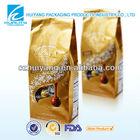 custom printed plastic side gusset coffee bag one way valve