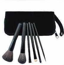 mini 6pcs animal hair make up brush set with cosmetic bag