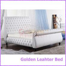 Blanco de cuero de la PU diamante nuevo modelo de dos cama