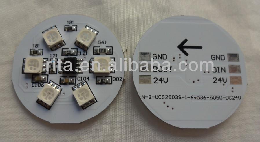 DC24V UCS1903 LED pixe PCBA;DC24V input;6pcs 5050 SMD RGB LED,1.44W;36mm diameter