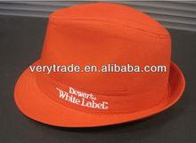 fedora hat 100% cotton orange
