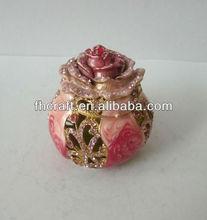 Fashion Metal Alloy Pewter Swaroski Rhinstone flower trinket jewelry box