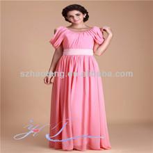 HT397 Elegant bag hip chiffon dress with short sleeves evening dress