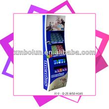 New design advertising 4 tiers supermarket cardboard display shelf for chewing gum