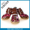 Bright red leopard color pet shoes with velcro 2014 new pet product