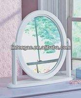 Wooden round art deco broadway lighted make up mirror