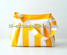 striped canvas shopping bag