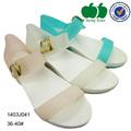 2014 nuevos zapatos de niña nuevo diseño de moda de color rosa sandalia plana zapatos de la señora