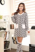 Ladies winter coral fleece Nightwear nightgown long-sleeve nightgown socks Pajamas Sets lounge set Leopard18732