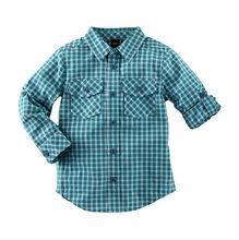 Fancy boy plaid shirt long sleeves button pockets shirt for kids boy