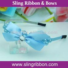 Fashion Accessory Ribbon Flower Pearl Hair Band For Girls