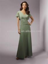HT502 Elegant bag hip chiffon dress with short sleeves evening dress