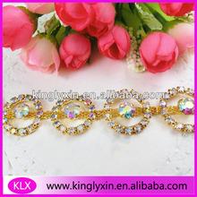 Gold Circle Crystal AB Collar Rhinestone chain, Rhinestone Bikini Connector ,Rhinestone Chain Trimming LXK22