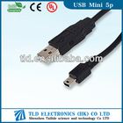 High speed mini usb to ethernet cable usb mini 5 pin cable 2.0