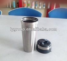600ml stainless steel protein shaker bottle/ bpa free plastic blender bottle,20oz metal shaker cup with iron ball