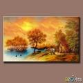 Bonito pintado à mão decorativo pacífica campo cenário pintura em tela, Village pintura cenário em amarelo