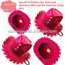 wholesale popular winter felt cowboy caps kids/children Red large brim caps floppy for boyes/girls100% wool felt/new design