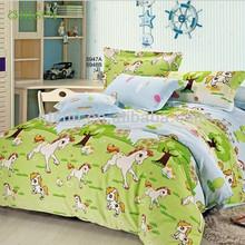 Green horse pattern Kids Twin Size Bedding Sheet Comforter Set