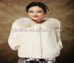 Online shopping for wholesale clothing mink fur COAT with fox fur trim for girl C1-13002