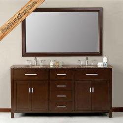 Floor mount modern double sink bathroom vanity melamine surface