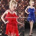 las mujeres al por mayor nuevo sexy 2014 oblicua borla de vestuario de ropa de baile de salón de baile de samba chacha rendimiento etapa américa fringe ys443 vestido