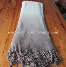50CI89 100%acrylic degrade dip dye tricot knit blanket shawl throw with fringe