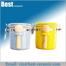 spice ceramic jars with spoon,custom ceramic canister set