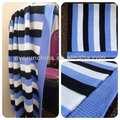 50CI98 couverture de bébé 100% coton bande de couverture de tricot fond blanc couverture rayé de bleu et noir