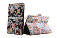 Flower pattern printed Leather Wallet Case For iPad mini 2