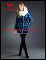 光沢のある青、 女性ロングダウン- 満たされたフード付きコート
