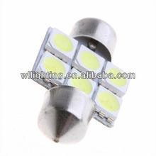 31mm Festoon Dome 6 LED 5050 SMD Bulbs License light Reading lights Car dome light