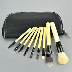 9Pcs Cosmetic Makeup Brush Set + Zipper Leather Pouch Case