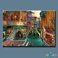 Extremamente bonita pintada à mão veneza pintura a óleo, encantadora paisagem de veneza sobre tela