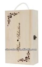 2 bottled pine wood box of blueberry wine