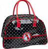 printed fashion shinning PVC travelling bag in black polka dot with logo