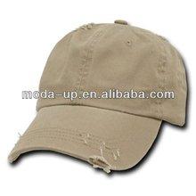 Fashion mens worn-out baseball cap, plain baseball cap, 6 panel baseball cap
