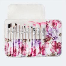 12 wool brush set senior cosmetic tools cosmetic brush graphic flower patterns cosmetic brush bag