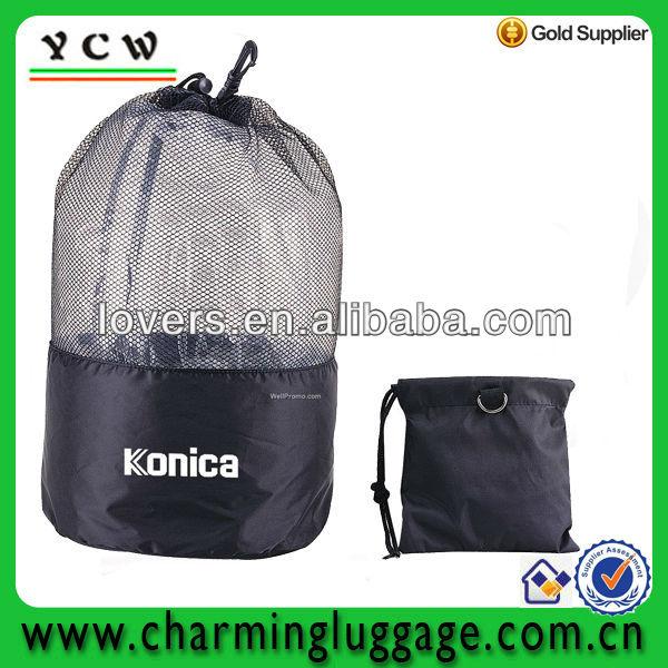 foldable mesh drawstring bag/nylon mesh drawstring bags