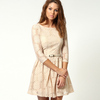 High waist Sunflower Princess 3/4 sleeve lace cute lady casual lace summer dress patterns