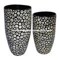 Eco- amigável mão laca terminada preta vietnamita lacados objetos decorativos branco com incrustações de casca